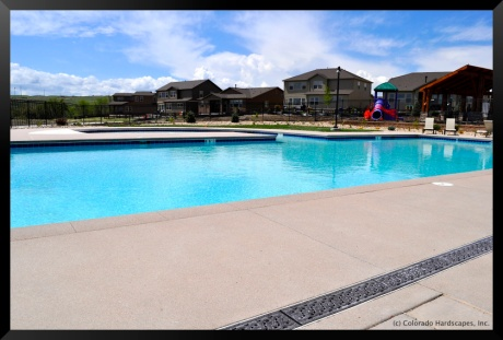 Sandscape pool deck and coping