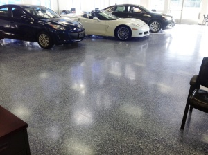 Chevrolet Dealership Interior Polished Concrete Floor with Bomanite Modena Monolithic