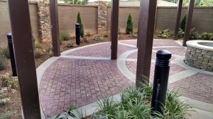 Marrioitt Courtyard Asheville Decorative Stamped Concrete Entry and Terrace installed by Carolina Bomanite