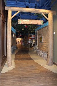 The Great Wolf Lodge in Minnesota Renovated with Bomanite Thin-Set Toppings Stampable Overlay with three different Bomacron Patterns; Fishscale Belgian Block, Small Sandstone and Dried Earth Texture
