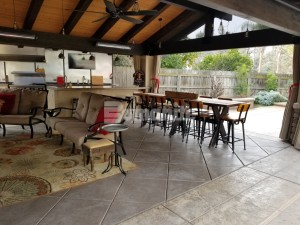 Residential remodel inlcudes mecca entertainment space for all ages using bomanite stamped concrete for the pool deck and exposed aggregate antico process for patios and outdoor living areas