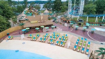 Canobie Lake Park, Castaway Island Expansion, plazas, decking, waterways,stamped with multiple Bomacron Patterns to give that real tiki inspired resort feel.