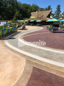 Canobie Lake Park, Castaway Island Expansion, drainage walkway meandering brook Stamped with Bomacron Garden Stone Pattern Decorative Concrete
