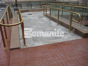 Connecticut Tower Plaza Receives Bomanite Imprinted Concrete Renovation of Old Paver System Creating Walkways and Pedestrian Bridge with Bomanite Basketweave Brick and Bomacron Medium Ashlar Slate patterns