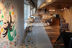 Starbucks Coffeehouse Brookside Creates Community Design with Bomanite Modena SL Polished Concrete Floors in Kansas City installed by Musselman and Hall