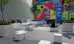 Two World Trade Center connects with One World Trade Center using Bomanite Exposed Aggregate Alloy Systems for the decorative street design and sitting area installed by Beyond Concrete