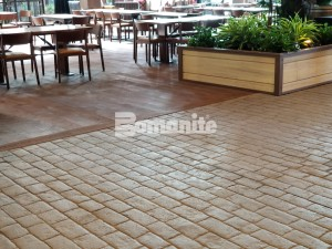 Gaylord Rockies Resort and Convention Center builds rustic coloradan rustic environment with Bomanite Imprint Systems of Stamped Slate and Stamped Brick patterns for interior Grand Lodge Restaurants and Walkways