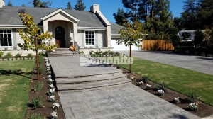 Interior Designer Lisa Davis worked with Hertiage Bomanite for the Bomacron English Sidewalk Imprinted Concrete Driveway, Walkway and patios installaions in Fresno, CA for this homeowners exterior hardscape plan