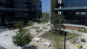 Flight at Tustin Legacy creates living working playing environment with Bomanite Revealed Exposed Aggregate landscaped pedestrian walkways, courtyards and outdoor work spaces