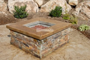 Architectural Concrete and Design Installed this Nature Inspired Patio, Pool Deck, Fire Pit and Stairs in a Beautiful Stamped Concrete Slate Texture in Sandy, UT