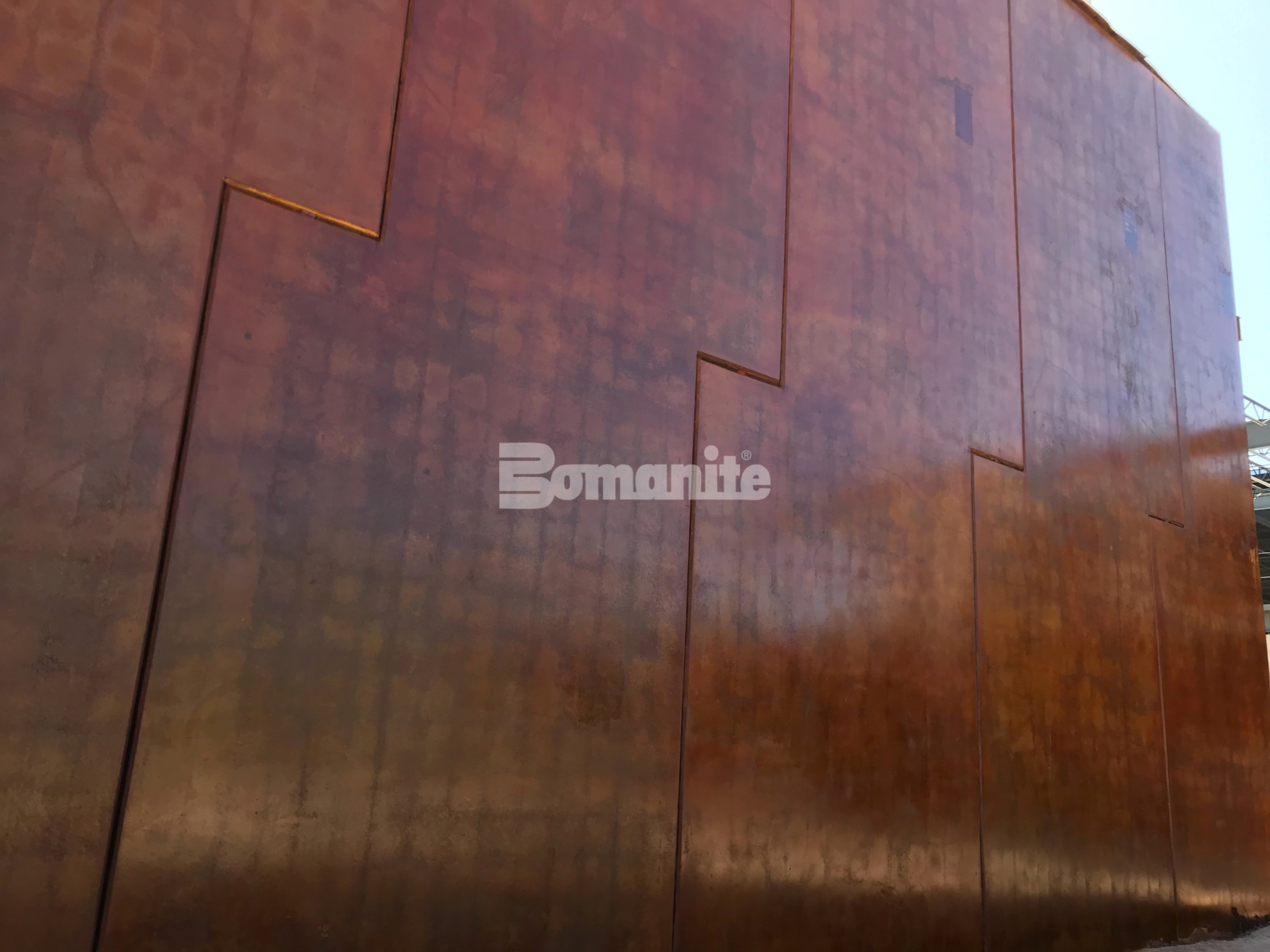 Bomanite Artistic Concrete colored the Bomanite chemically stained concrete wall panels installed by Sundt Construction for the Eastside Regional Park Rec Center known as the Beast Urban Park by the community of El Paso.