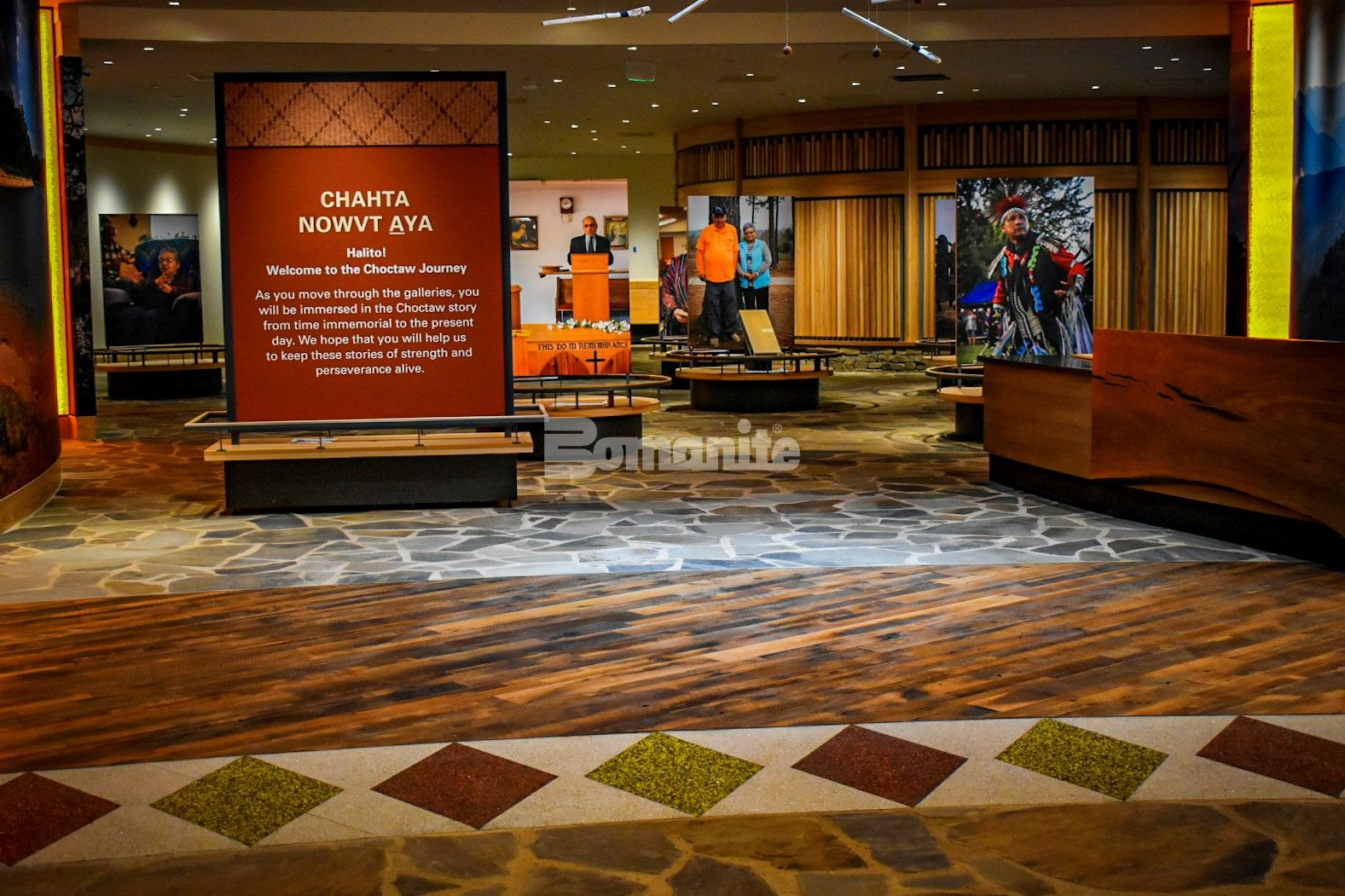 The Choctaw Cultural Center located in Durant Oklahoma chose the Bomanite Revealed Exposed Aggregate System for the interior entrance flooring to compliment other flooring material and create a traditional Choctaw design