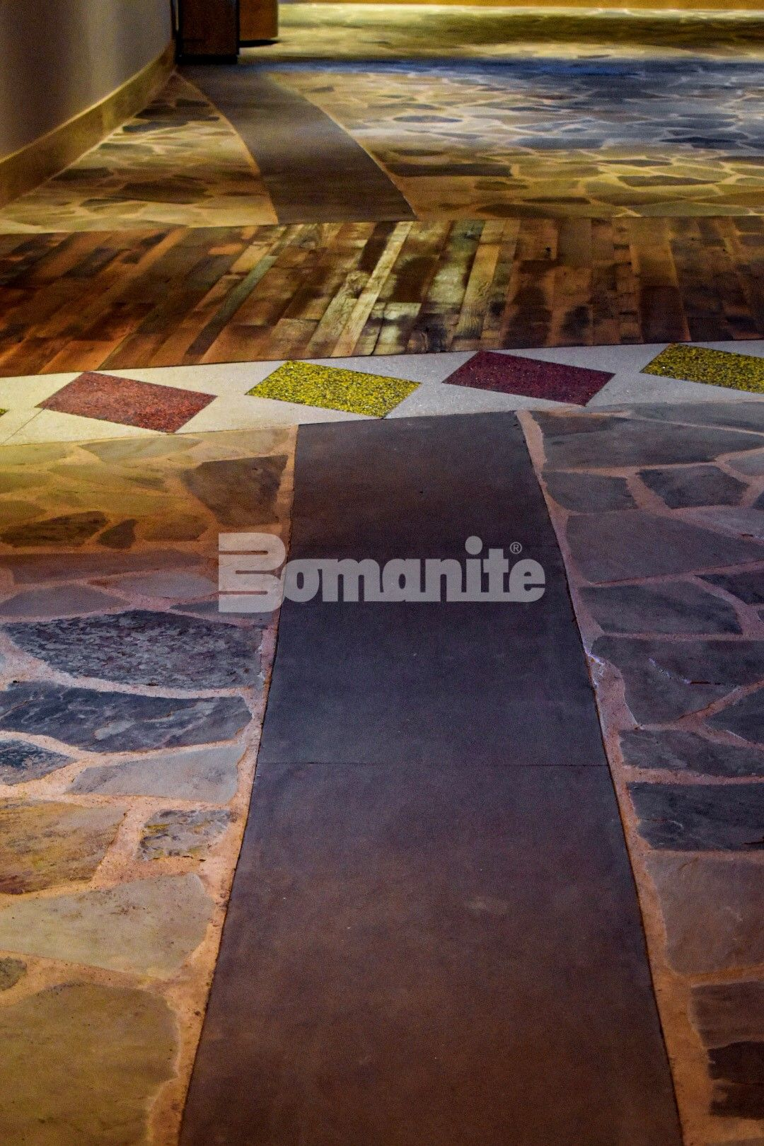 Bomanite of Tulsa, Inc worked with the Choctaw Cultural Center to bring to life the art and design for the interior entrance flooring with the Bomanite Revealed and Bomanite Sandscape Exposed Aggregate Systems